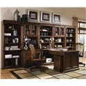 Hooker Furniture Brookhaven Tall Bookcase with Six Shelves - Shown with Computer Desk, Peninsula Desk, Mobile File Cabinet, Open Hutch, Door Hutch, and Swivel Chair
