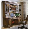 Hooker Furniture Brookhaven Kneehole Credenza with CPU Storage and Keyboard Drawer - Shown with Hutch