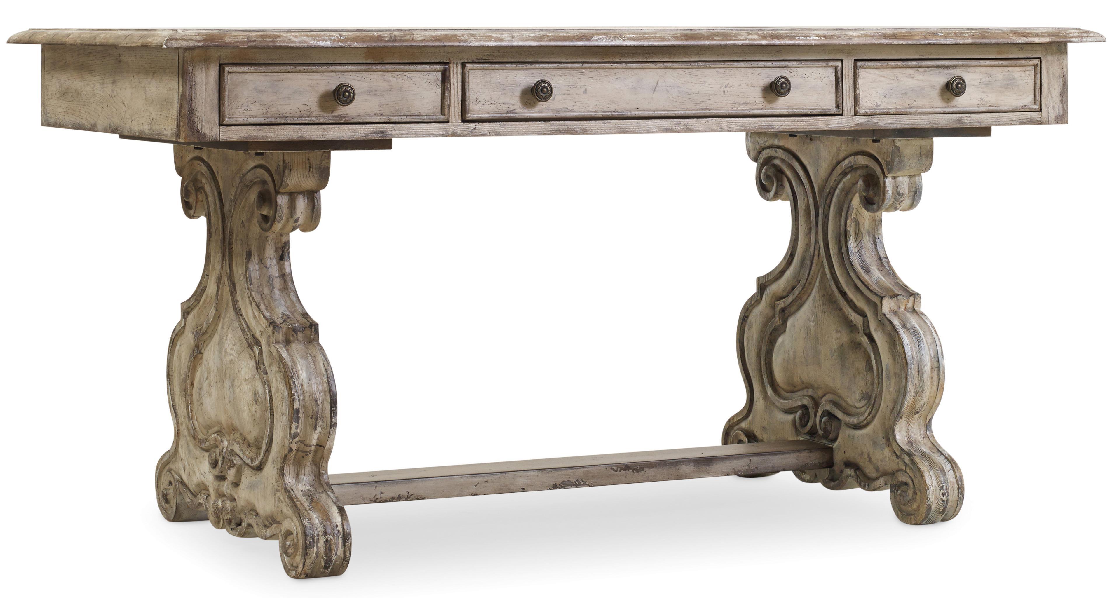 vintage hooker furniture desk. Trestle Writing Desk With Scroll Pedestals Vintage Hooker Furniture E
