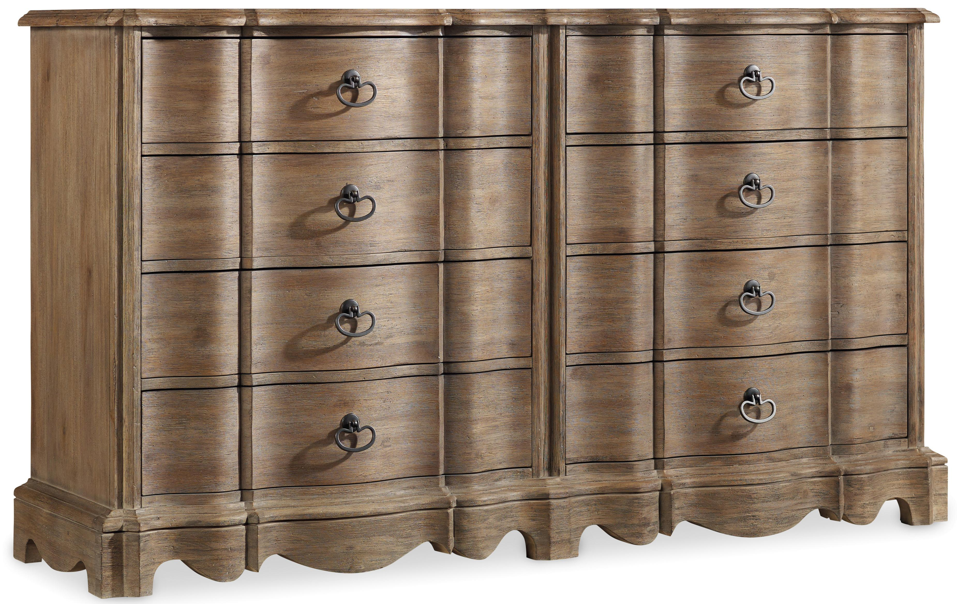 Dresser With 8 Drawers And Mirror With Serpentine Frame By