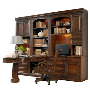 1457 Main European Renaissance II Office Wall Unit with Peninsula Desk