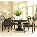 Hooker Furniture Grandover Round Single Pedestal Dining Table with One 18-Inch Leaf - Shown with Splatback Arm & Side Chairs, and Accent Chest
