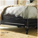 Hooker Furniture Grandover California King-Size Winged Shelter Bed Upholstered in Faux Leather with Nailhead Trim - The Shaped Low-Profile Footboard Features Intricate Carving Details