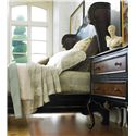 Hooker Furniture Grandover California King-Size Winged Shelter Bed Upholstered in Faux Leather with Nailhead Trim - Shown with Leg Nightstand