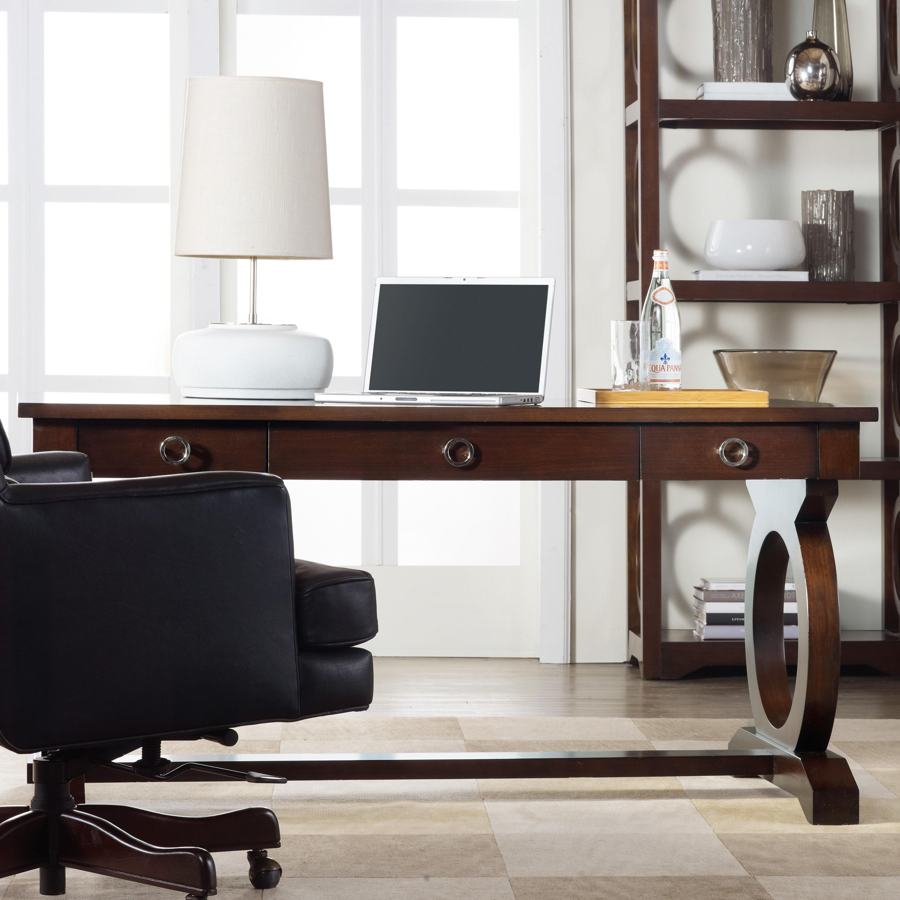 Contemporary writing desk with drop front keyboard drawer and open circle fretwork