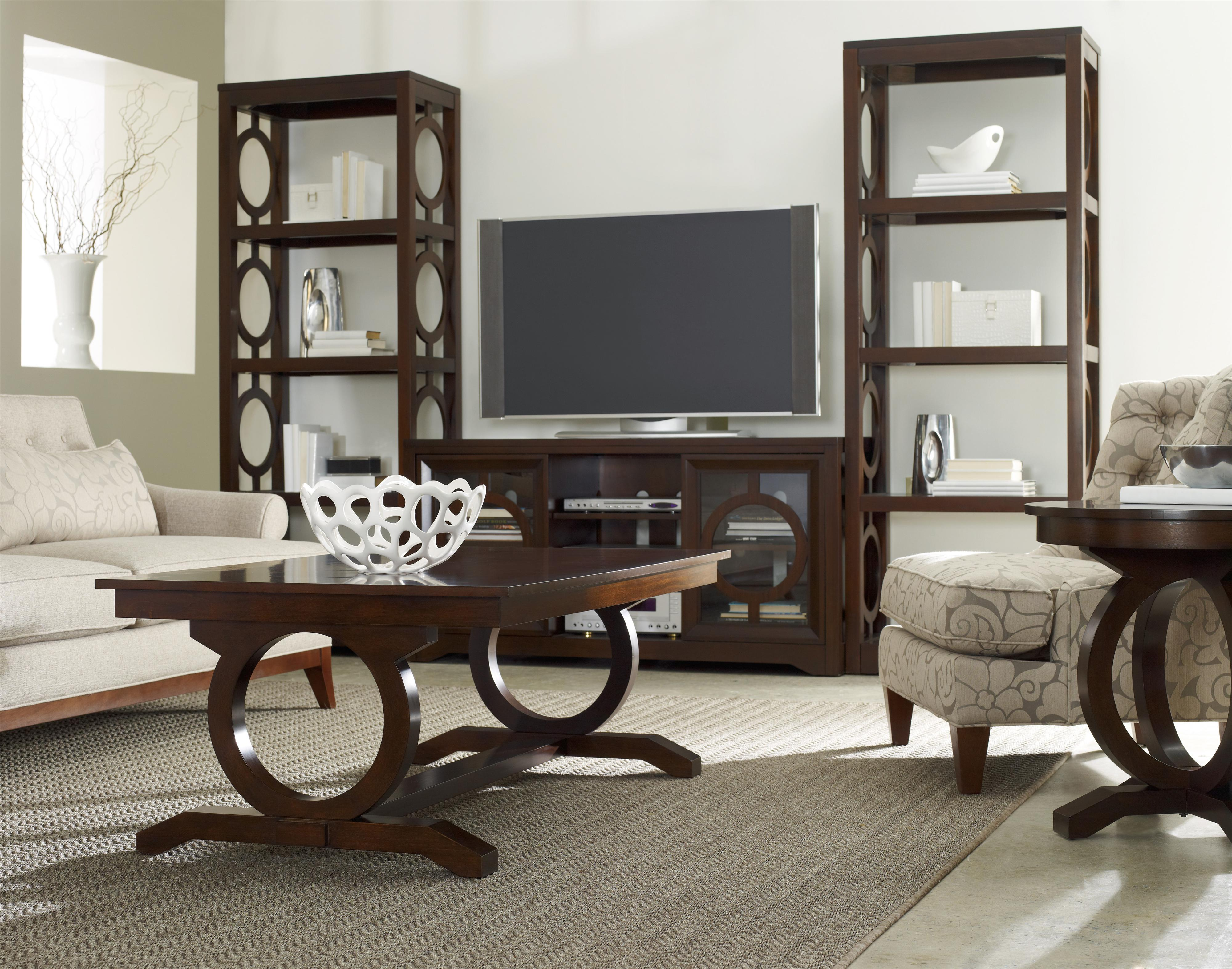 Contemporary Round End Table with Open Circle Pedestal Base by