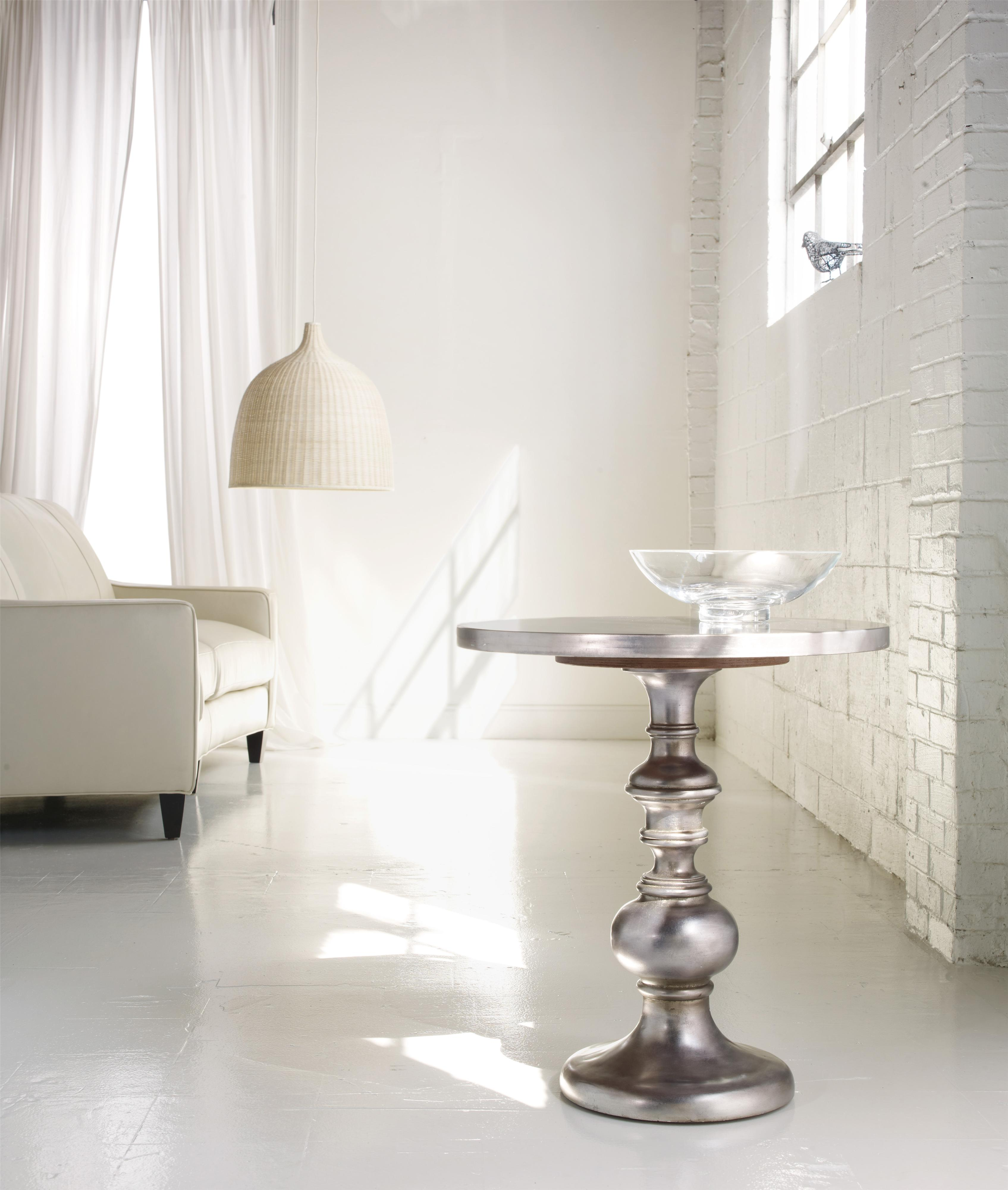 Zinc Finish Furniture Kenmar Turned Pedestal Table With Iridescent Faux Zinc Finish By
