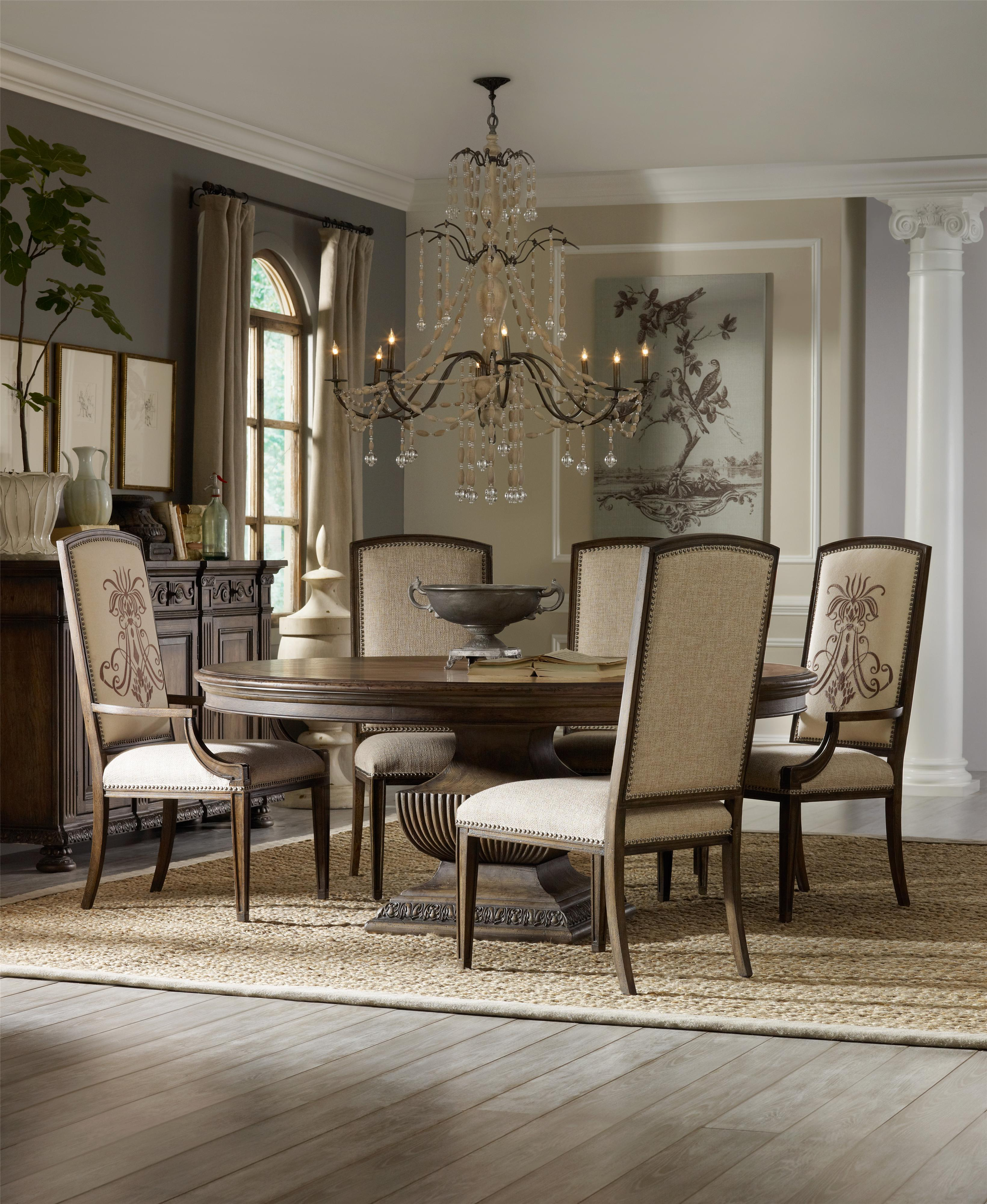 Traditional 72 Inch Round Dining Table With Grand Scale Pedestal