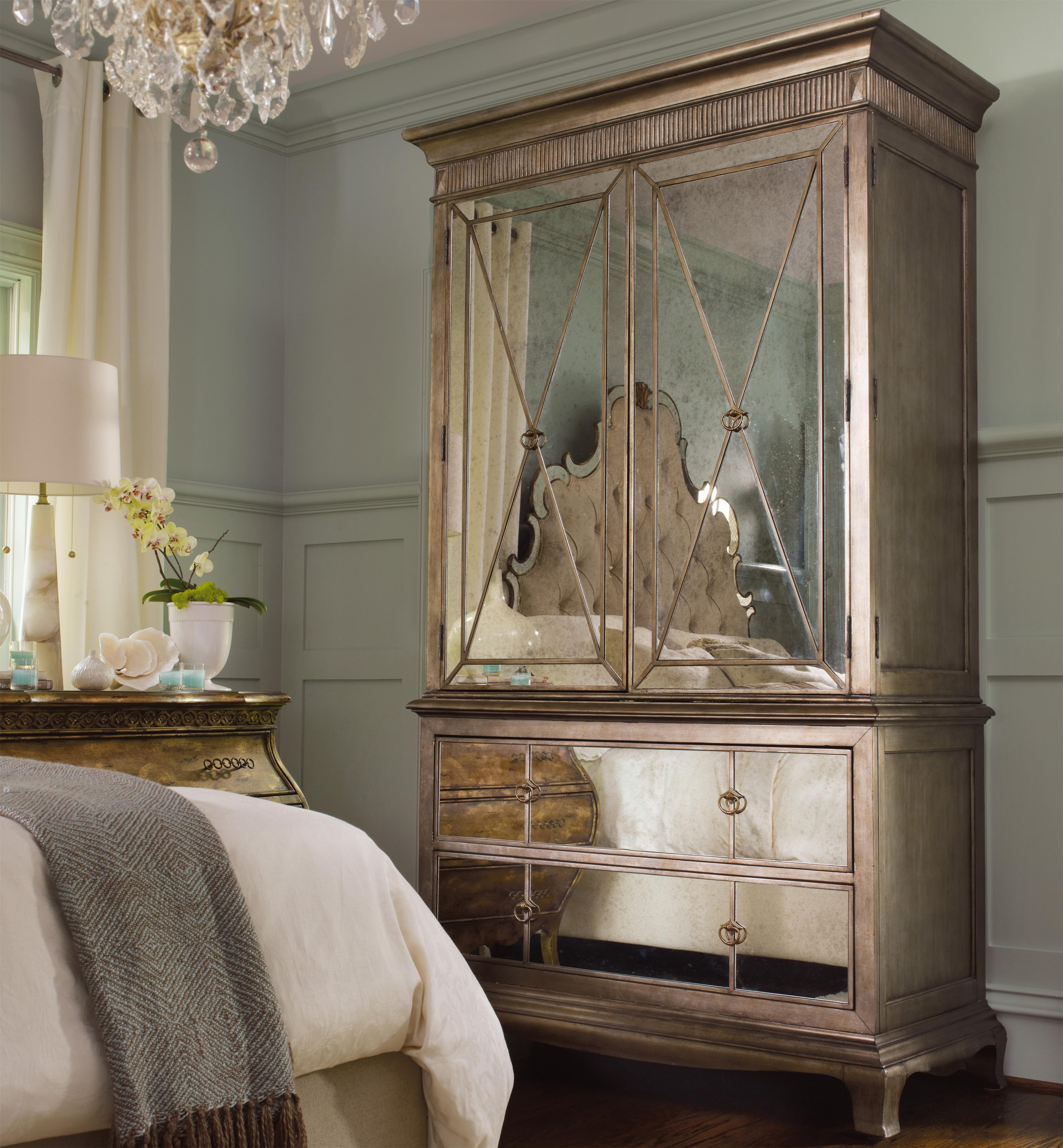 Bedroom Furniture Armoire two-door two-drawer armoire with mirror fronthooker furniture