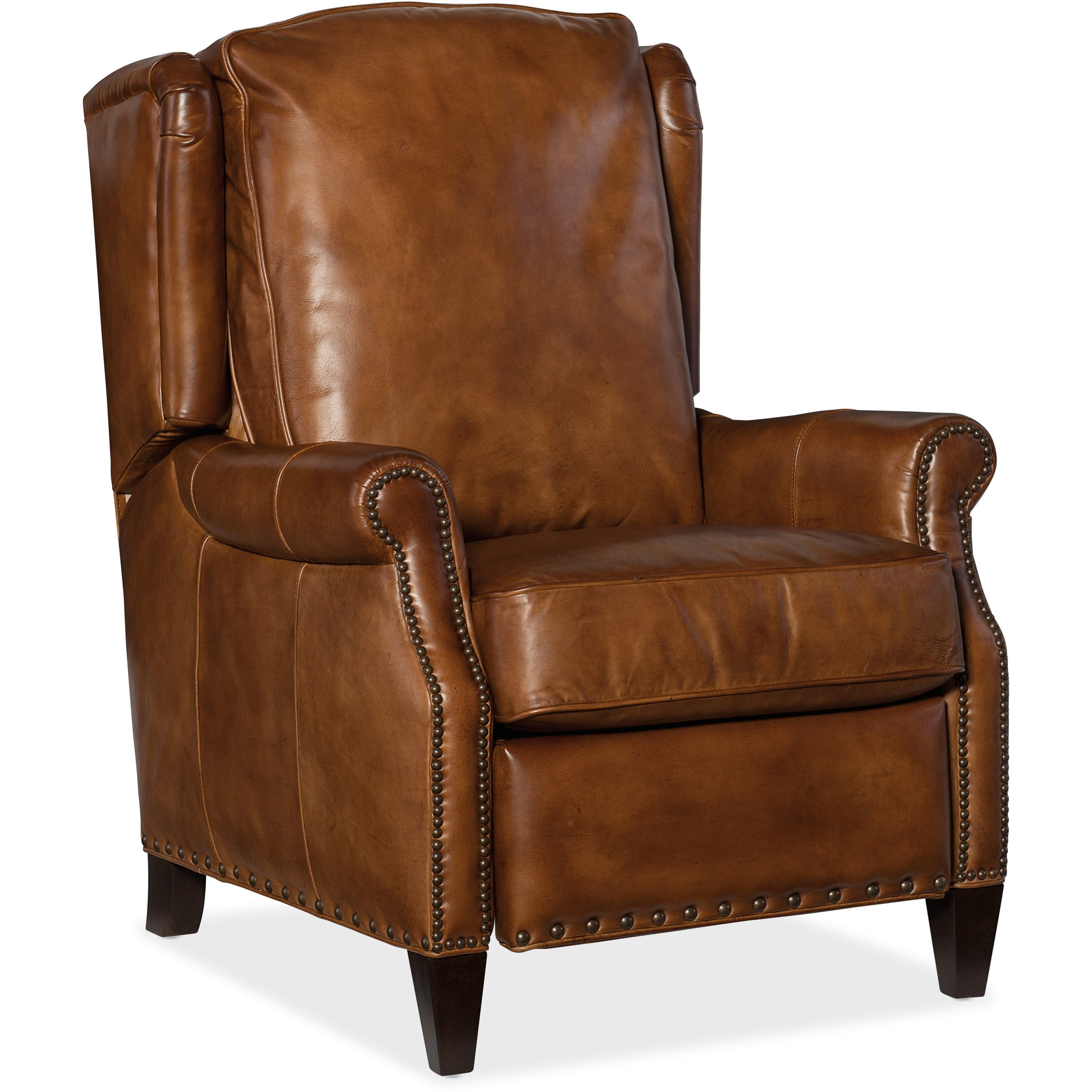 Merveilleux Silas Traditional Leather Recliner With Nailhead Trim