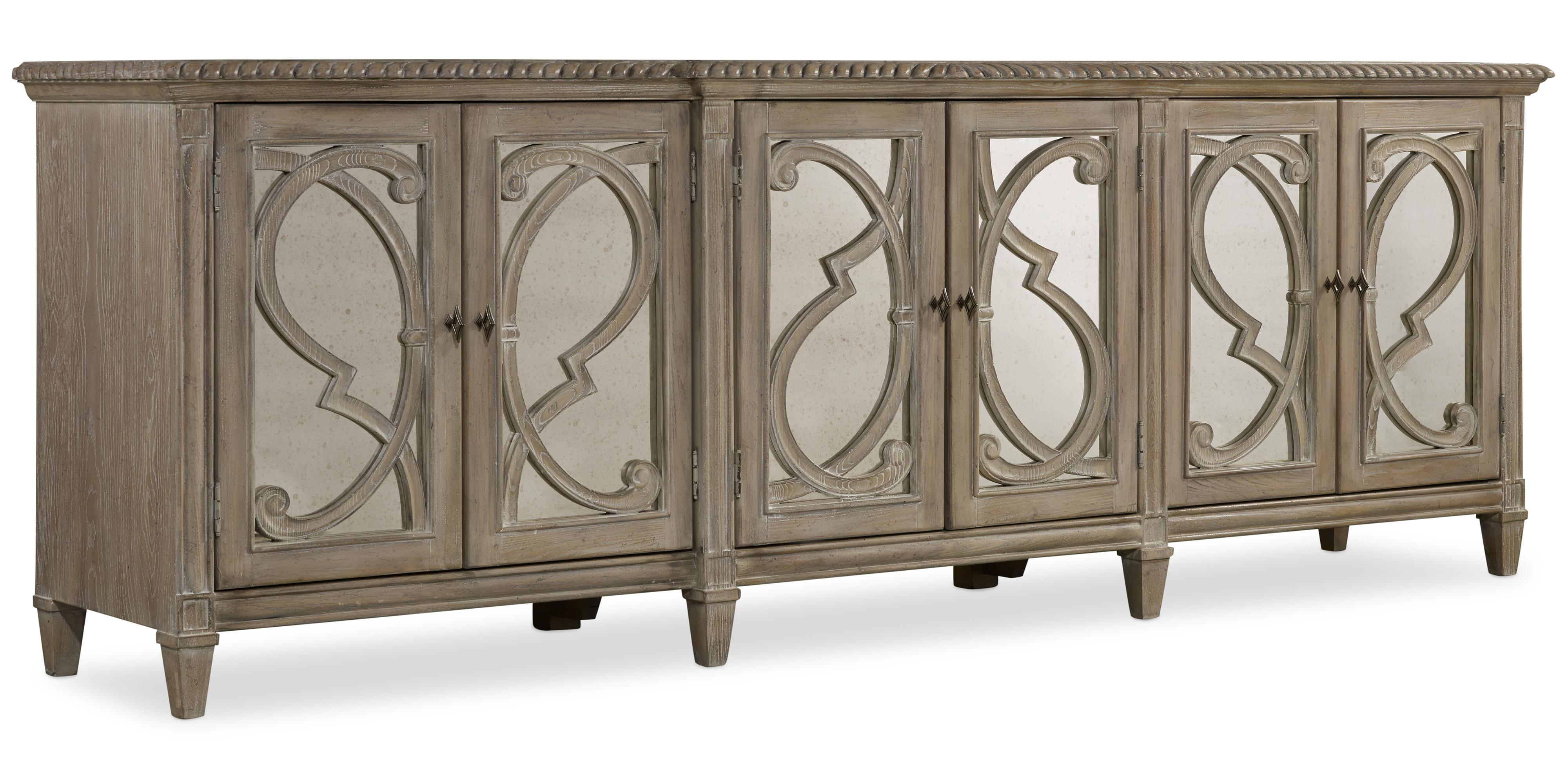 Console with 6 Glass Doors and Decorative Wood Overlay by Hooker