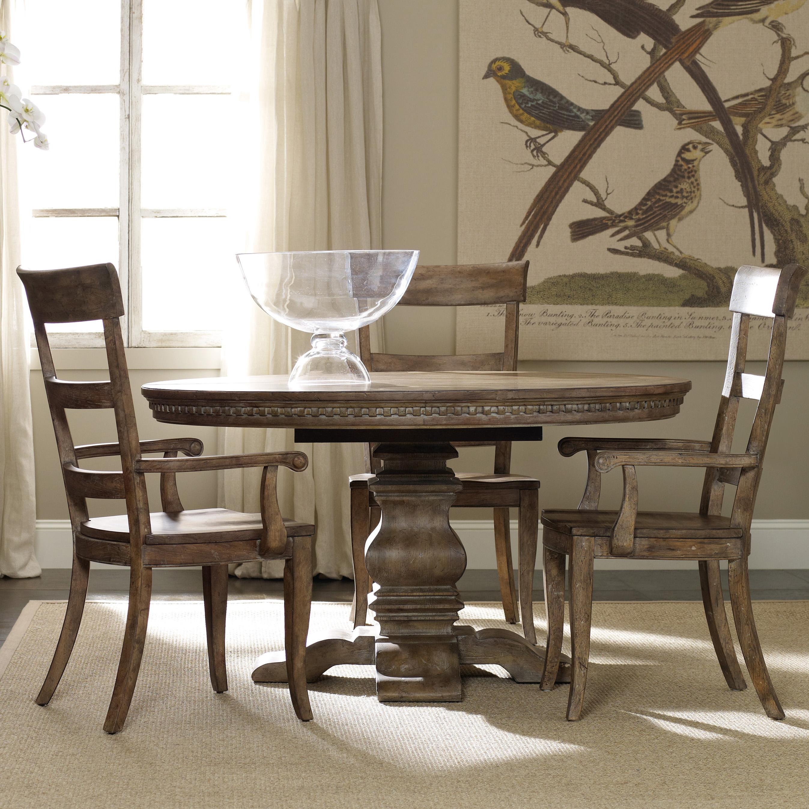 Casual Dining Set With Round Pedestal Table Ladderback Arm Chairs And Side