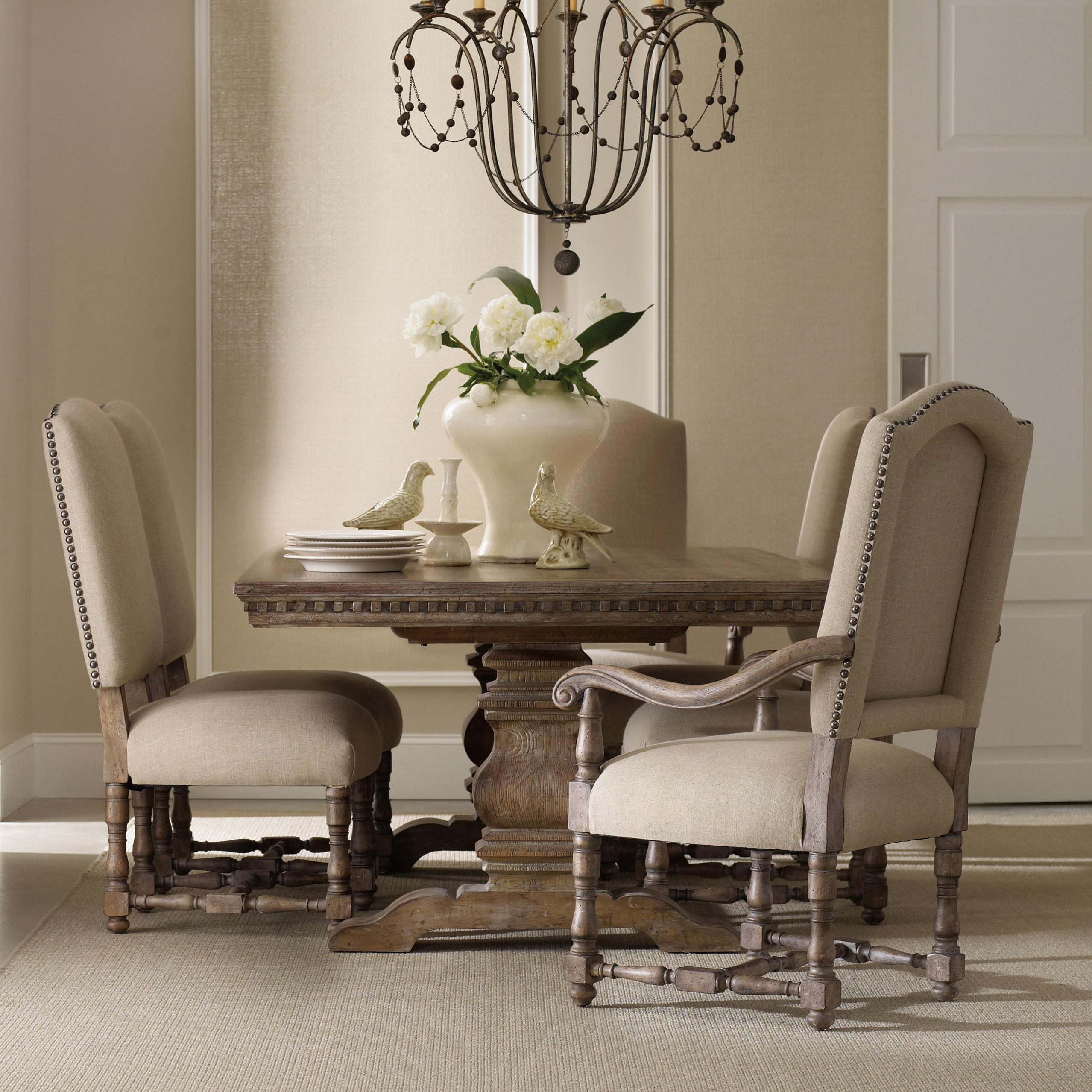 Formal Dining Set With Rectangular Table Upholstered Arm Chairs And Side
