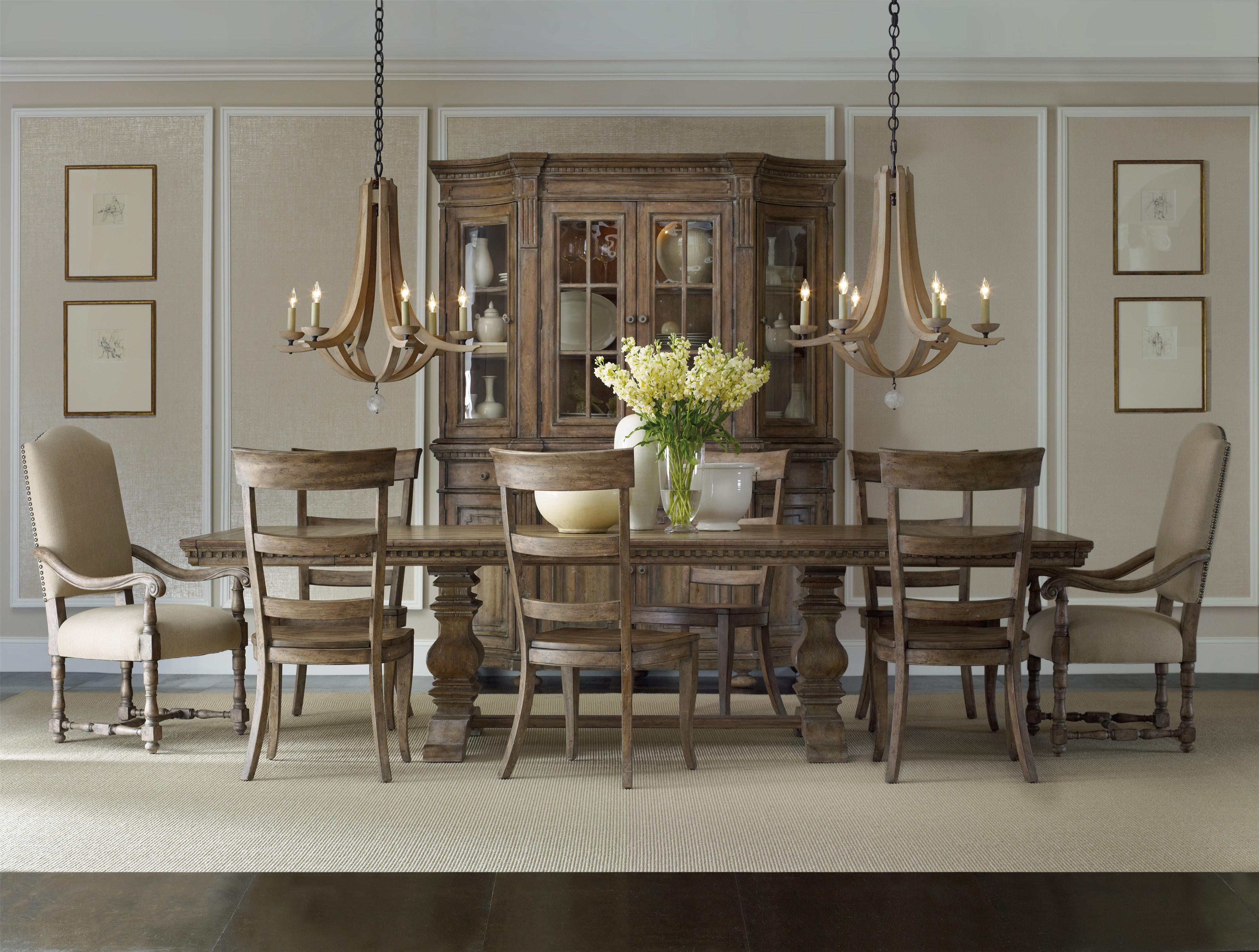 formal dining set with rectangular table upholstered arm chairs and