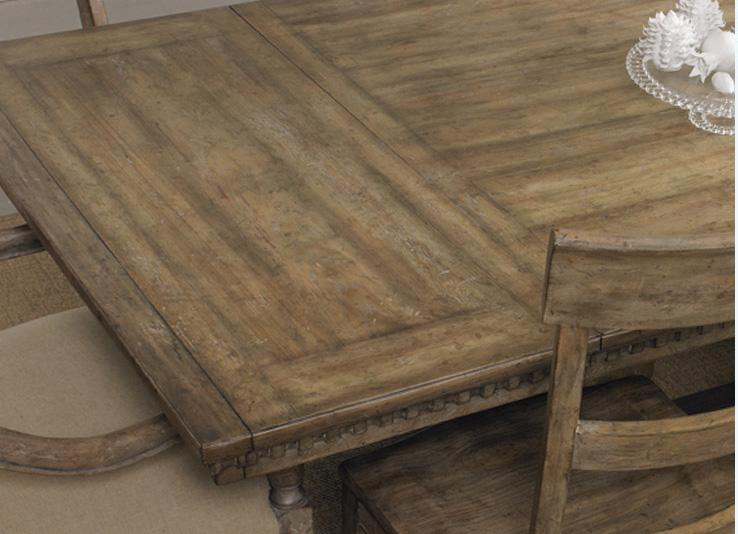 Rectangle Dining Table With Turned Trestle Base And 18 Extension