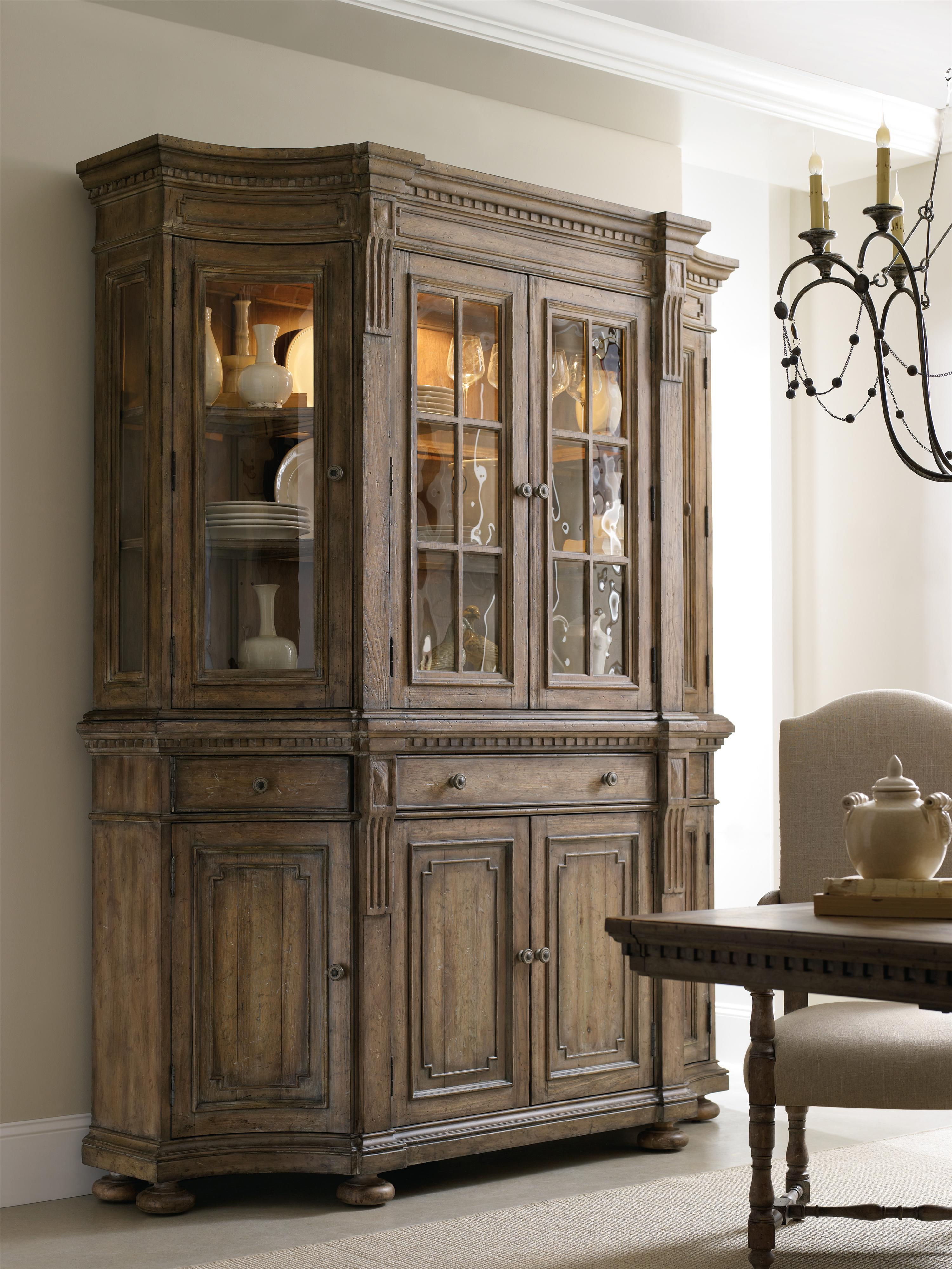 shaped credenza with concave side doors decorative panels and