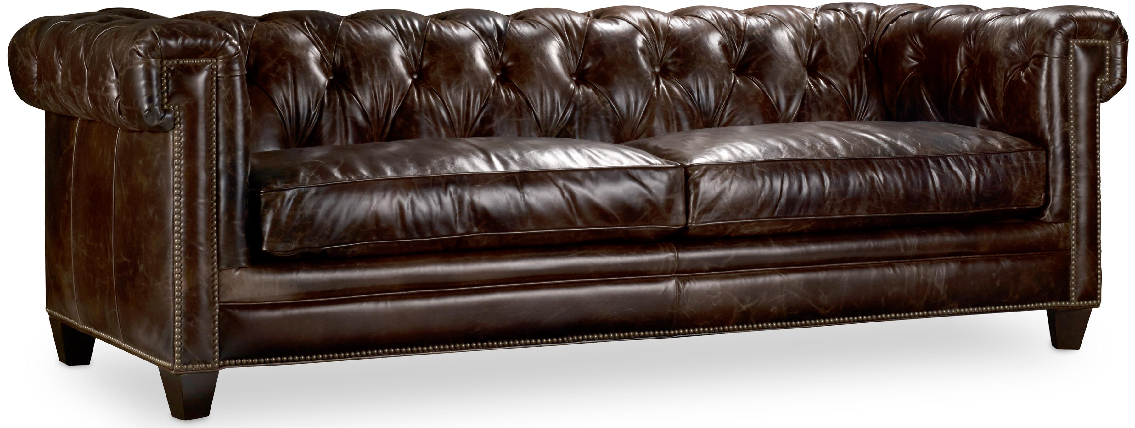 Transitional Chesterfield Sofa with Track Arms and Nailheads by