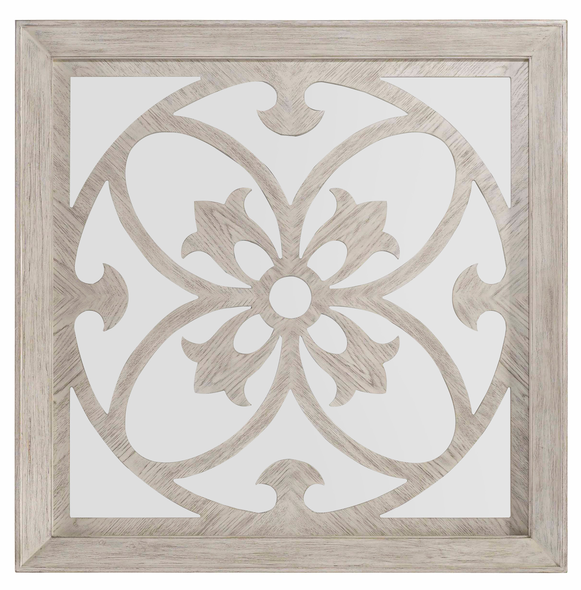 decorative square mirror with wood overlay by hooker furniture