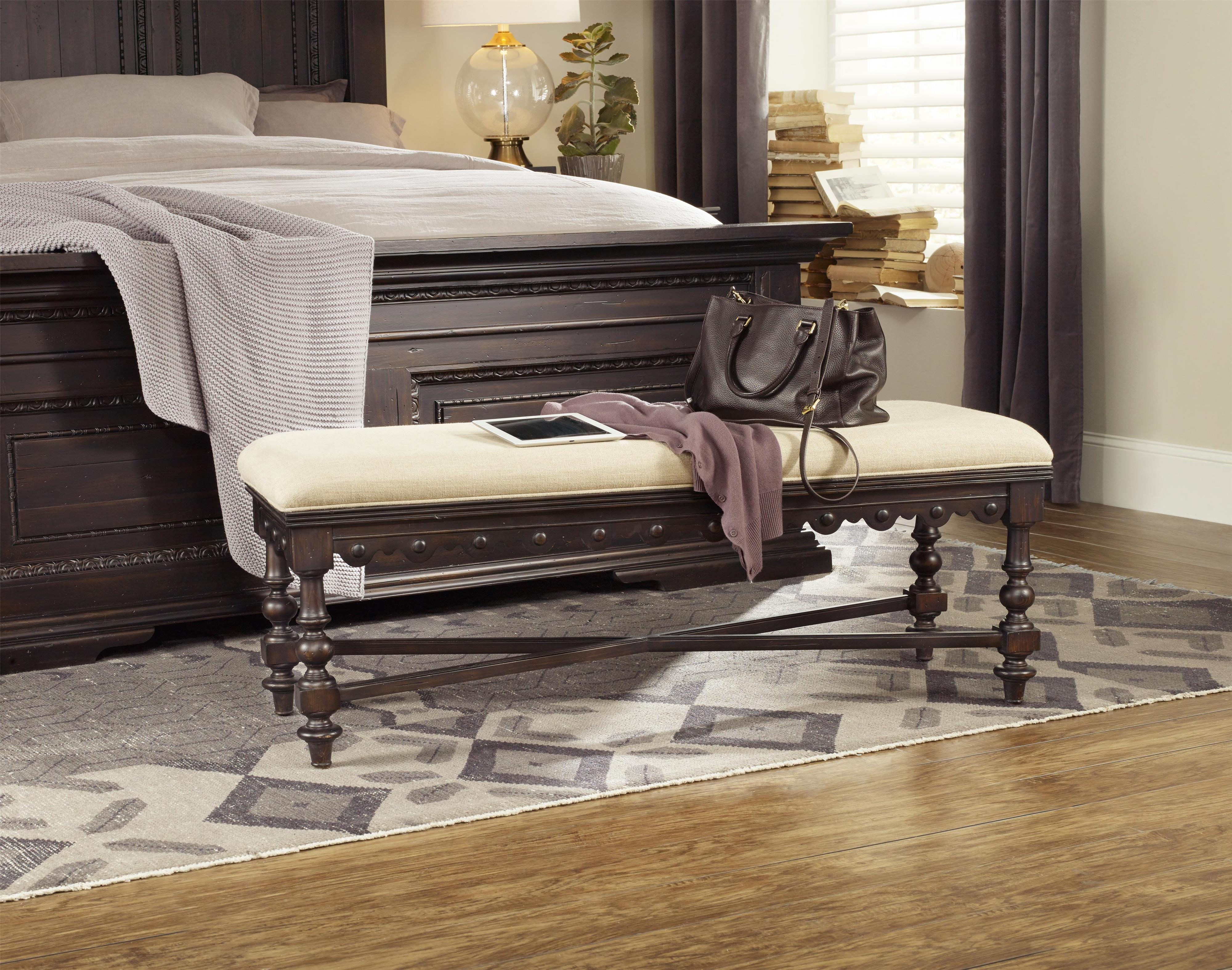 Foyer Settee Bed Bench : Upholstered bed bench with scalloped detailing by hooker