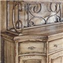 Hooker Furniture Wakefield Three-Door Three-Drawer Distressed Buffet with Decorative Metal Hutch Baker's Rack - Graceful Shaping on Both the Buffet and Metal Hutch Add Visual Appeal to Any Space