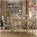 Hooker Furniture Wakefield Three-Door Three-Drawer Distressed Buffet with Decorative Metal Hutch Baker's Rack - Shown with Rectangular Table and X Back Dining Arm and Side Chairs