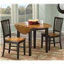Intercon Arlington Round Drop Leaf Table  - Shown with One Drop Leaf Down and Two Slat Back Side Chair
