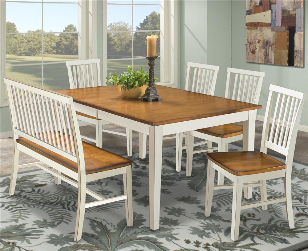 Dining Table With Slat Back Bench Side Chairs
