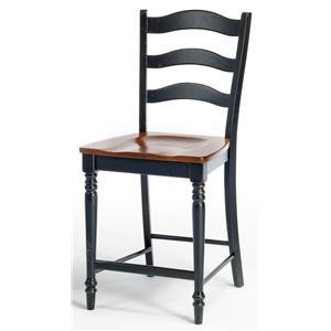 "Intercon Custom Dining 24"" Ladder Back Barstool w/ Wood Seat"