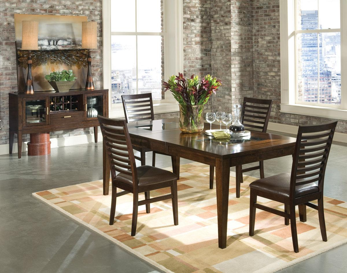 Transitional Dining Room Tables Rectangular Top Transitional Dining Table With Glass Inlays By