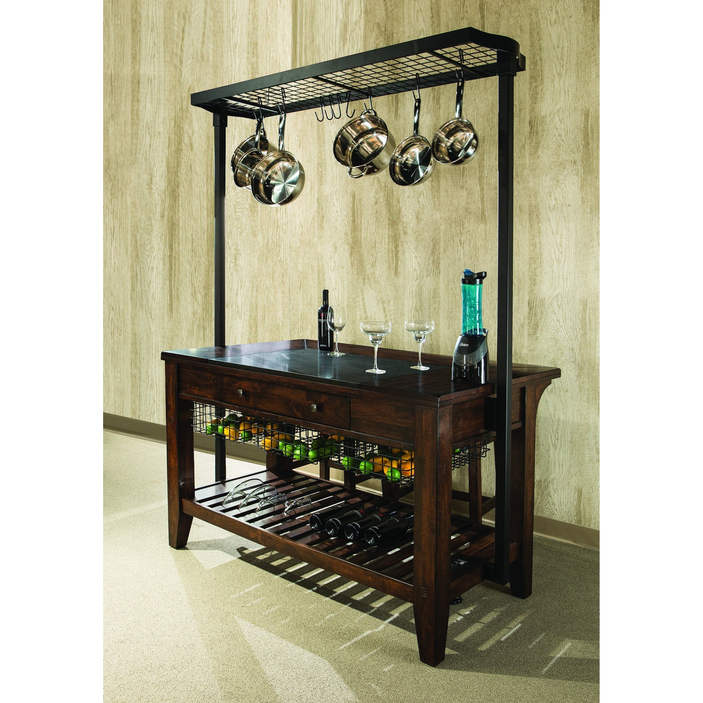 kitchen island pot rack kitchen island with metal pot rack and wine storage by 5134