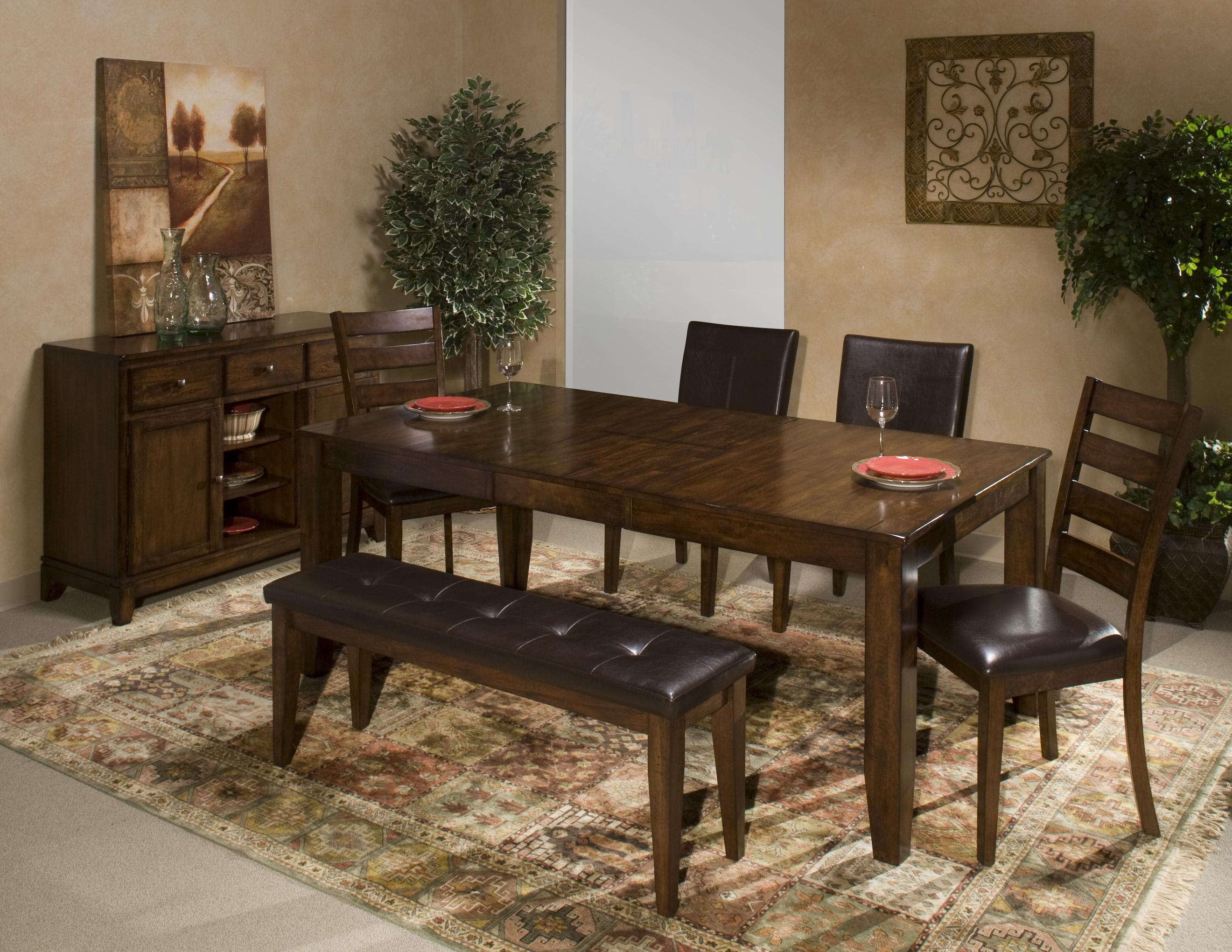 6 Piece Dining Room Set with Parson s and Ladder Back Side Chairs