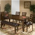Intercon Kona 6 Piece Dining Room Set - Item Number: KA-TA-4278B-RAI-C+4xCH-669L+1650L