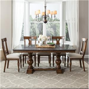 Intercon Brixton Brixton Bluestone Table + 4 Chairs Set
