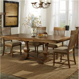 Intercon Rhone Trestle Table + 4 Chairs Set