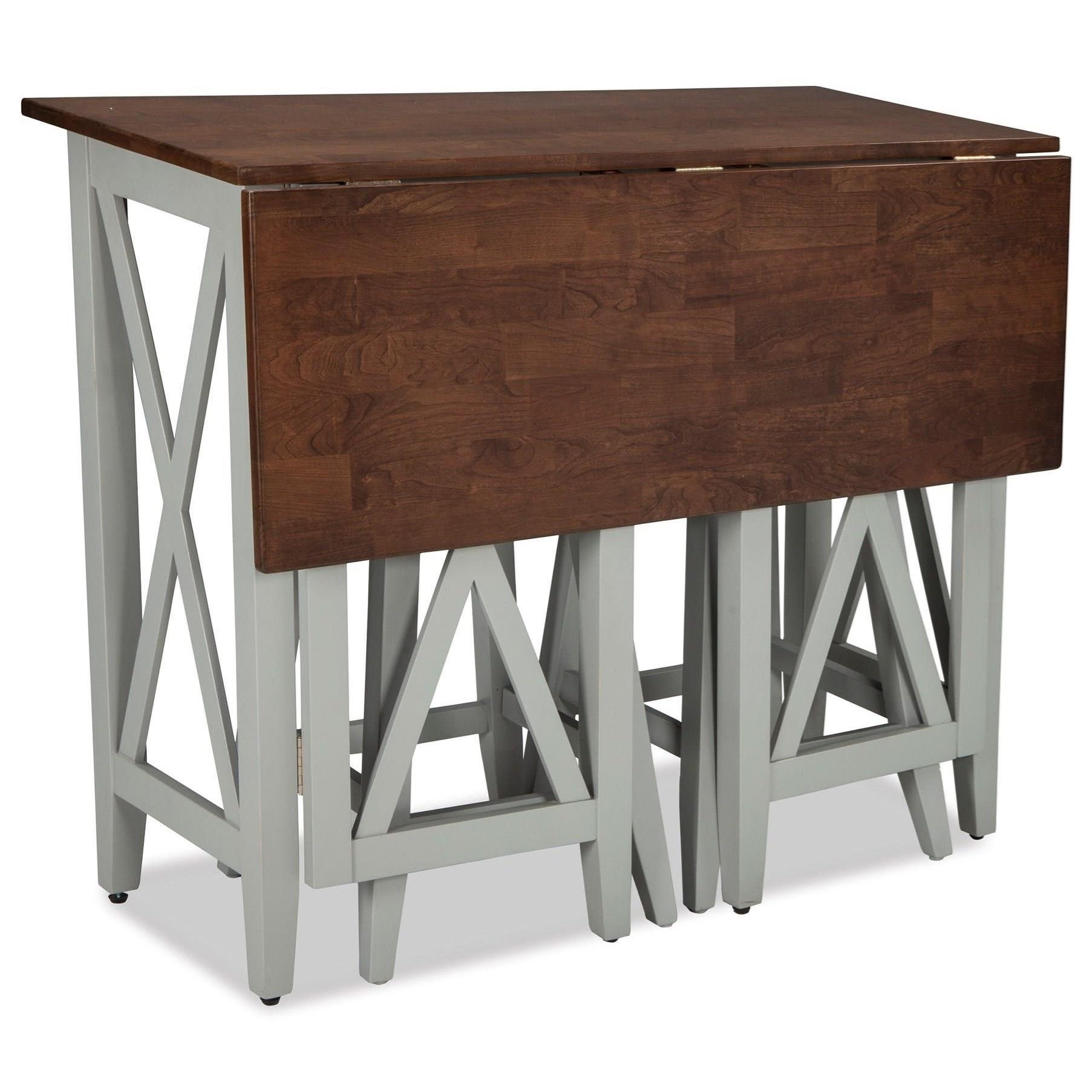 Superbe Two Tone Drop Leaf Breakfast Bar Table