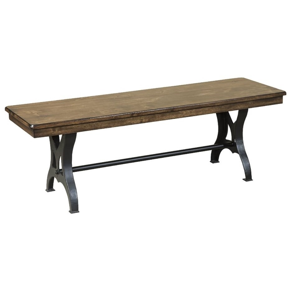 54 backless wood and metal industrial dining bench by for Furniture u district