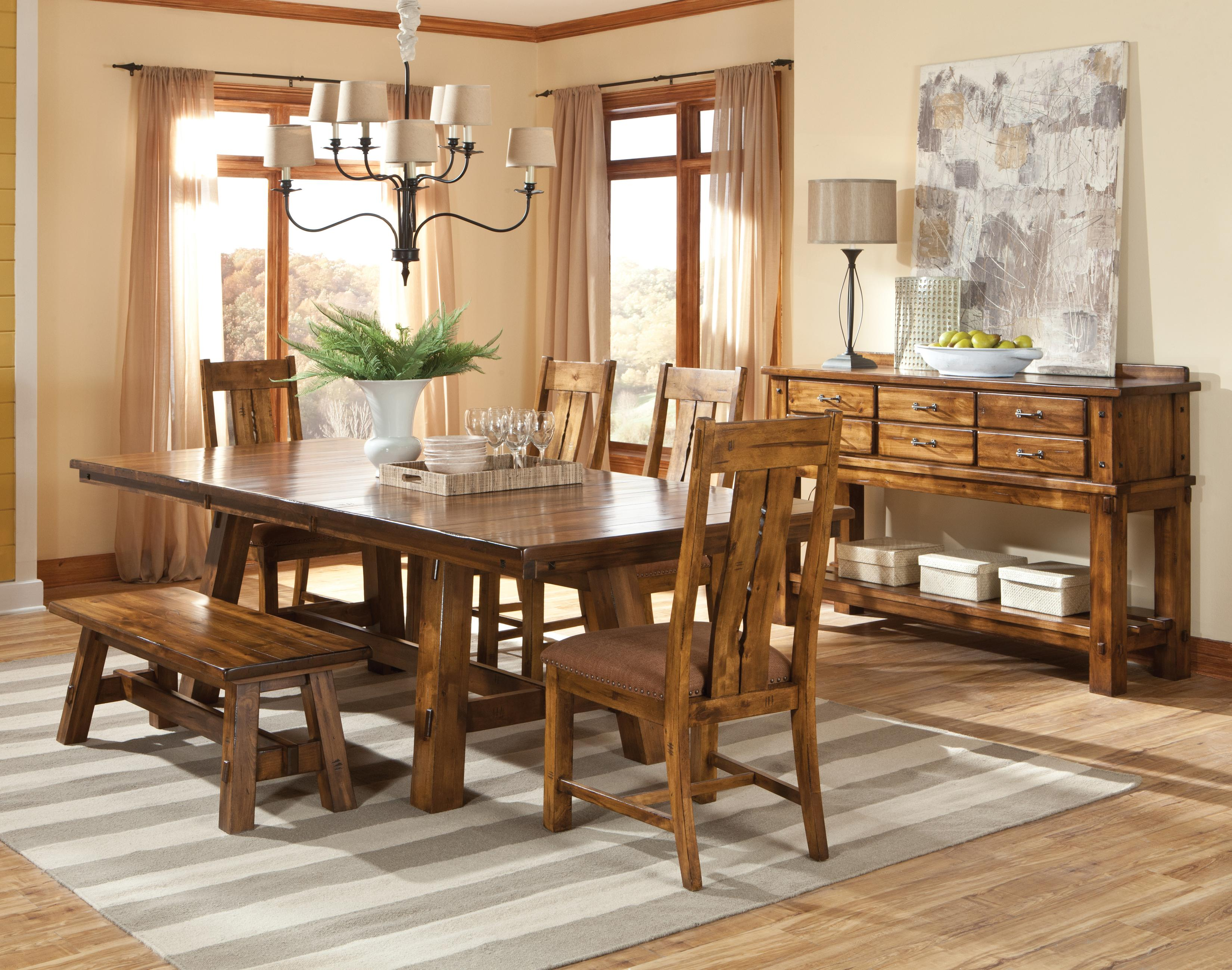 6 Piece Wood Table Chairs And Bench Set By Intercon Wolf And