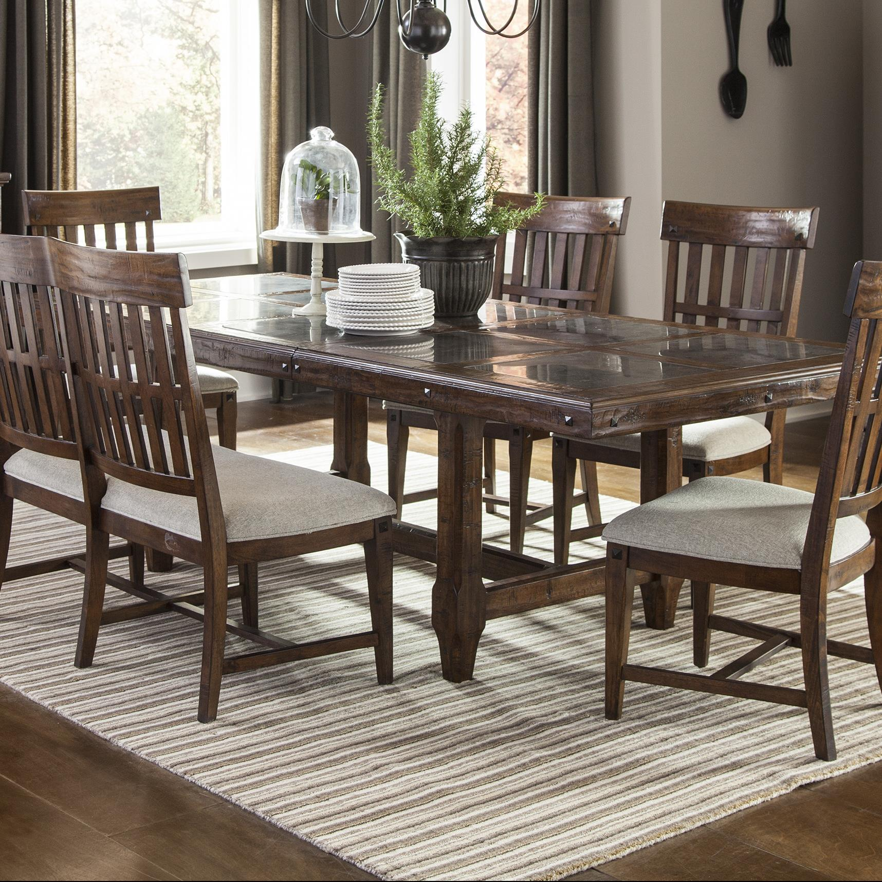 Stone Top Trestle Table with Leaf by Intercon