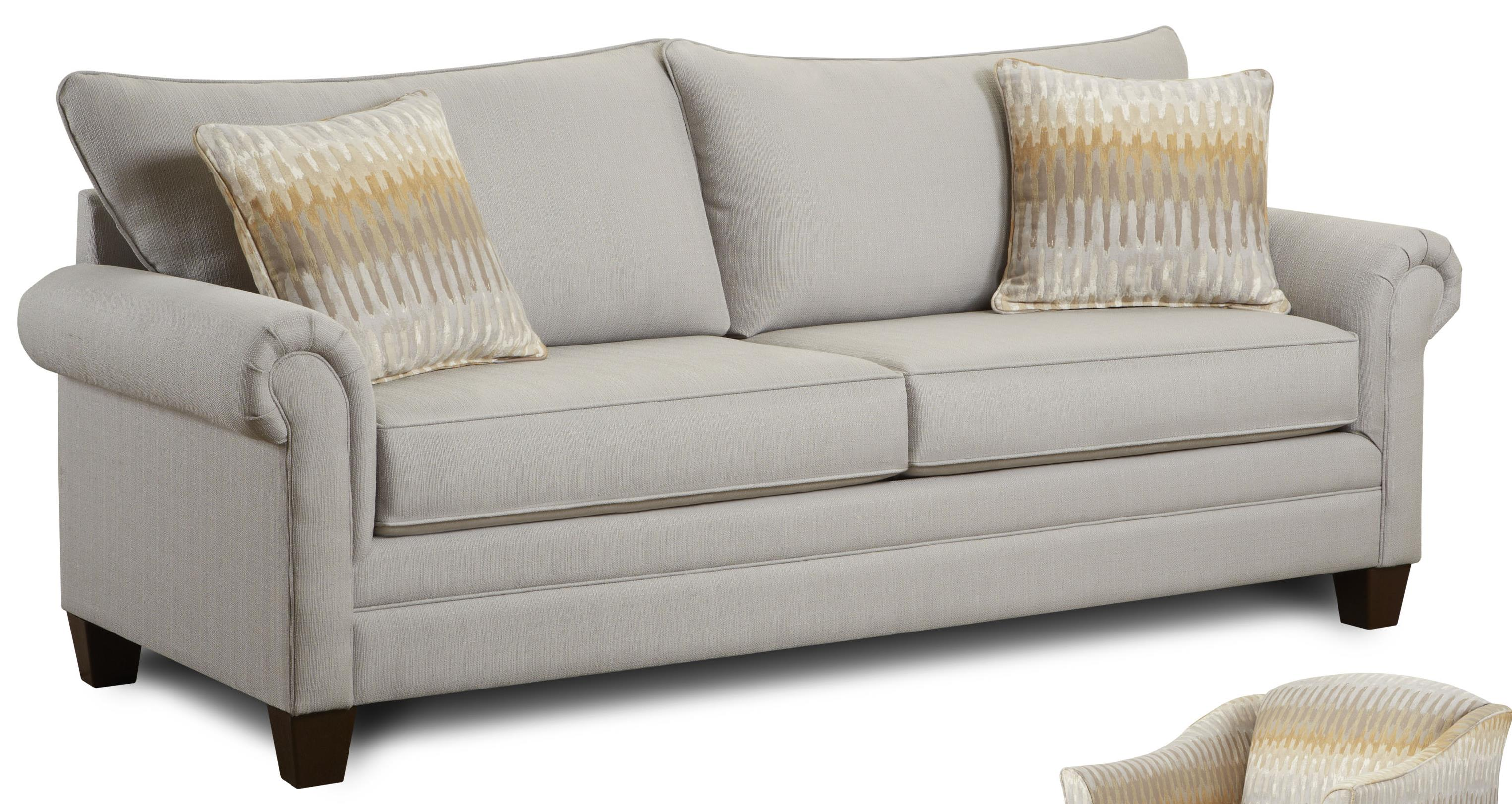 Stationary Sofa With Rolled Arms And Exposed Wooden Legs