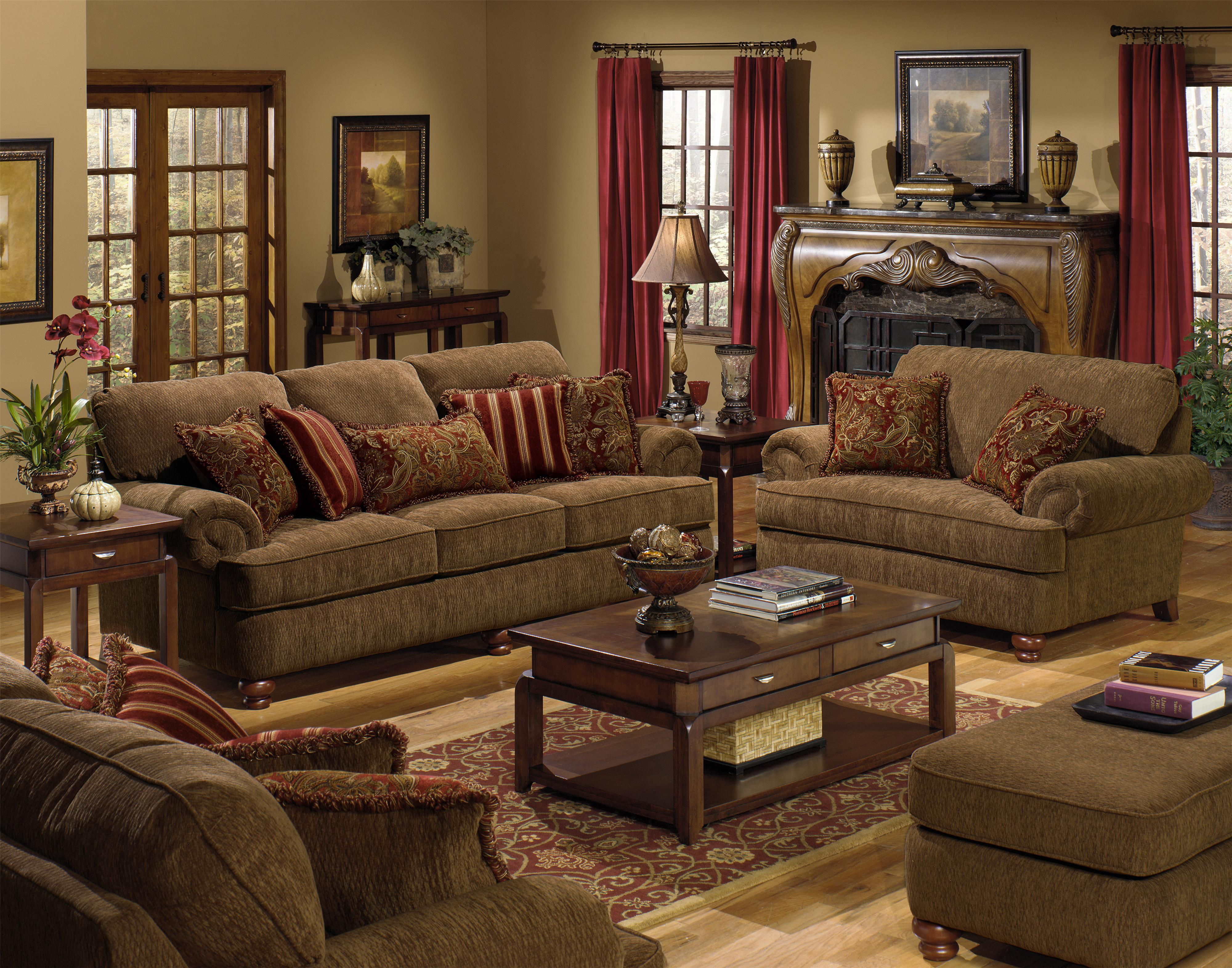 Chair and a Half with Rolled Arms and 2 Decorative Pillows by