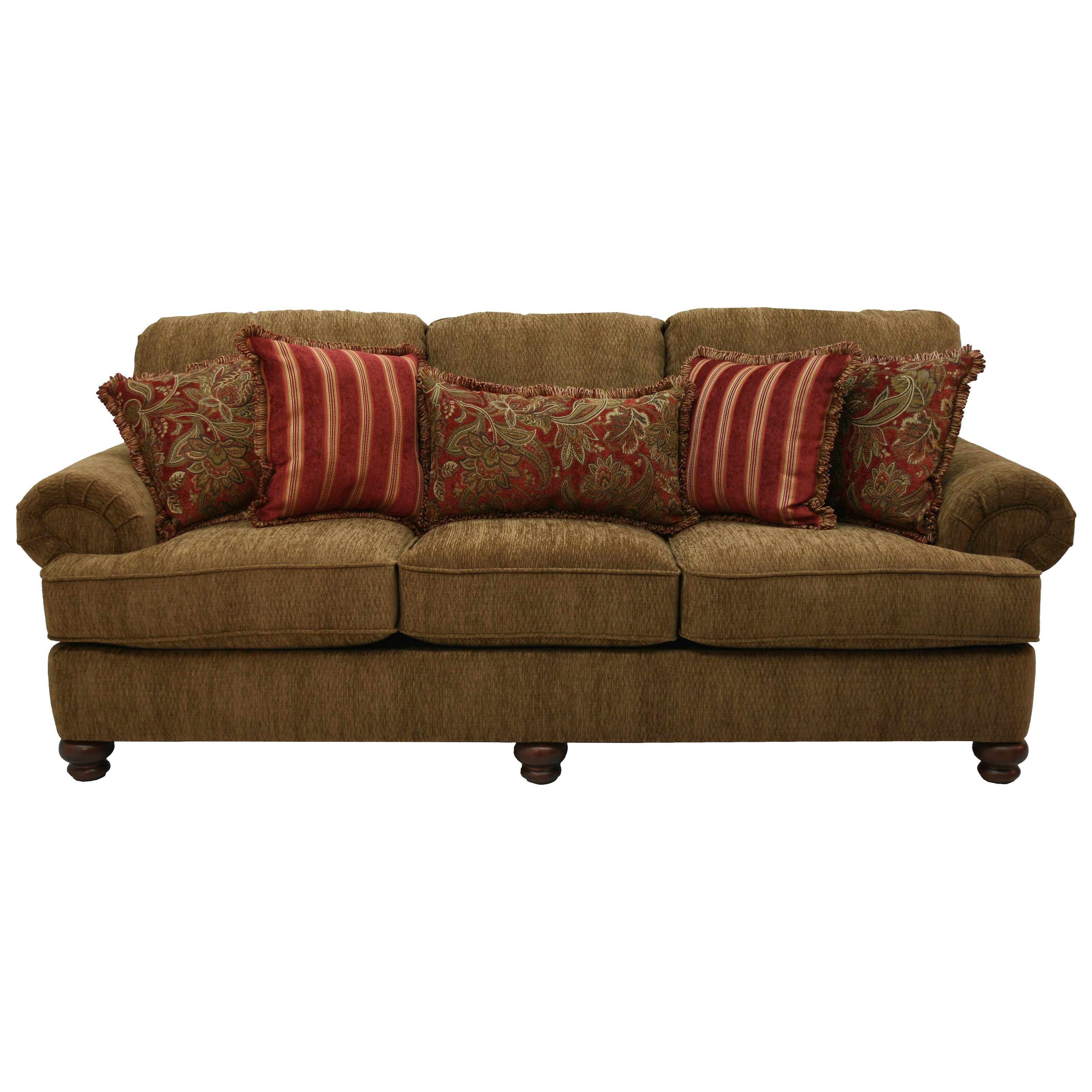 Sofa with Rolled Arms and Decorative Pillows by Jackson Furniture