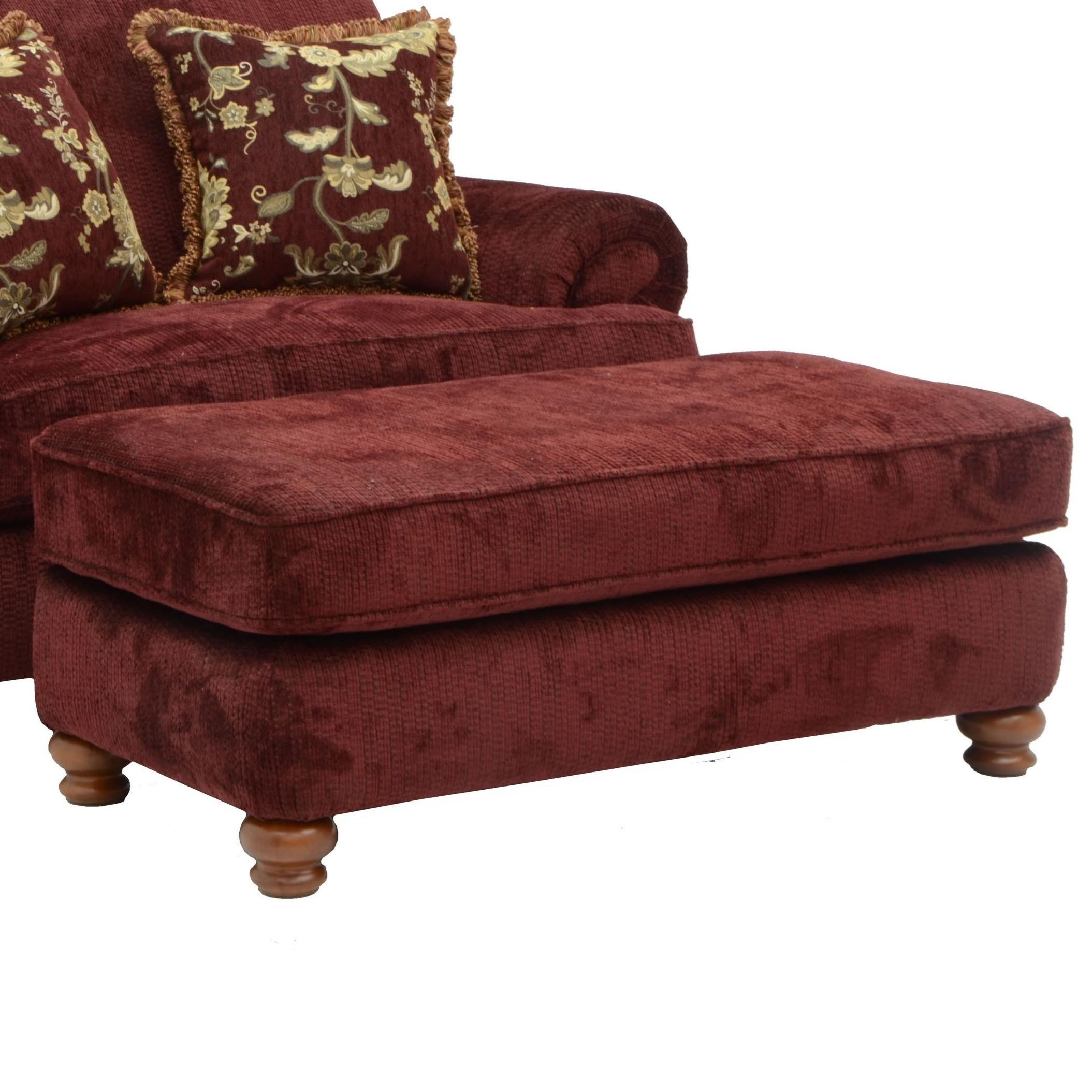 Rectangular Ottoman With Bun Feet