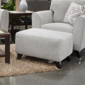 Contemporary Ottoman with Exposed Wood Feet