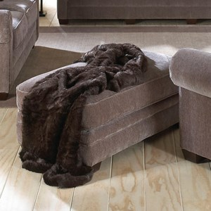 Transitional Ottoman with Exposed Wood Feet