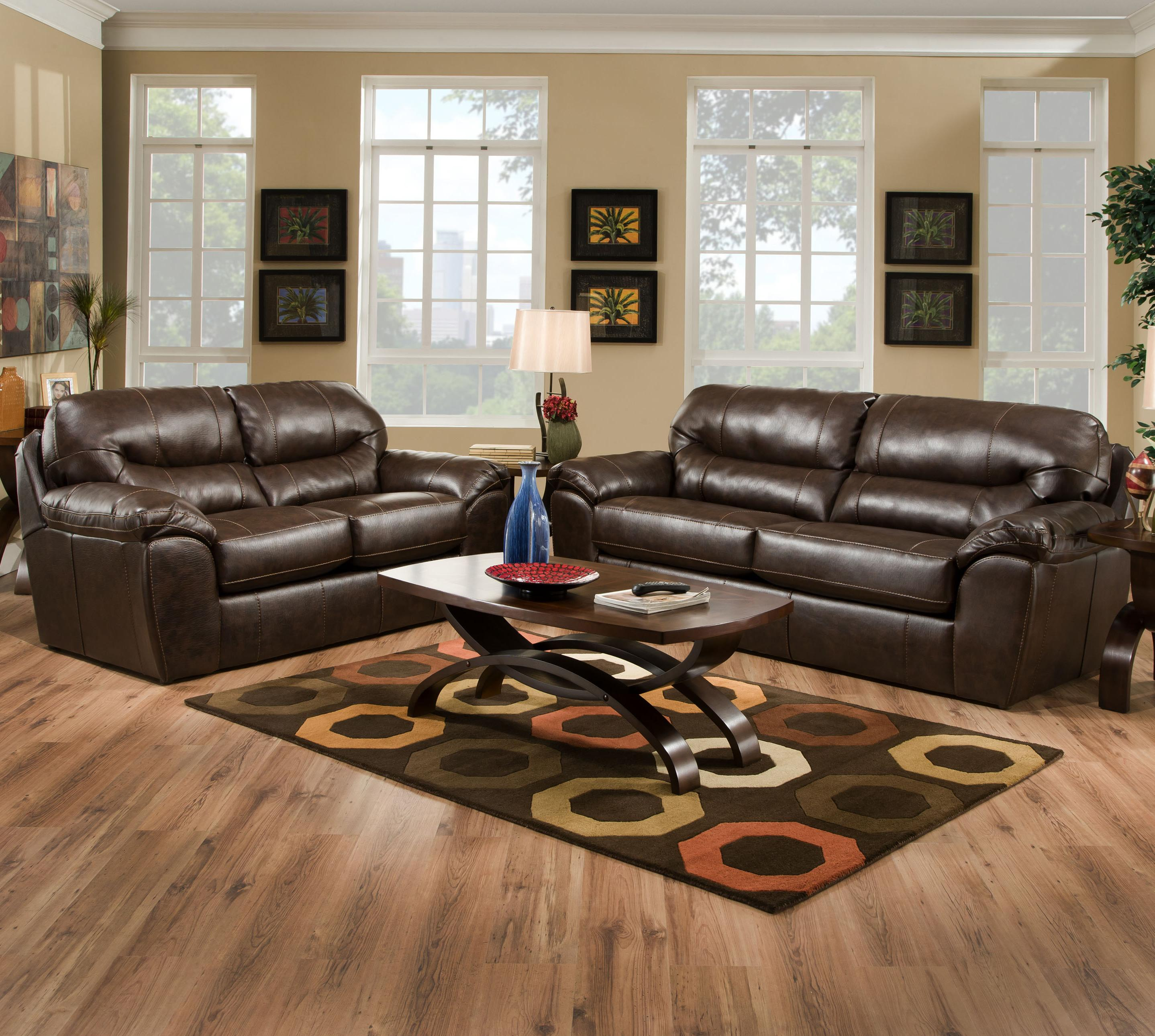 Casual Chairs For Family Room Part - 26: Faux Leather Casual And Comfortable Family Room Sofa Sleeper. By Jackson  Furniture