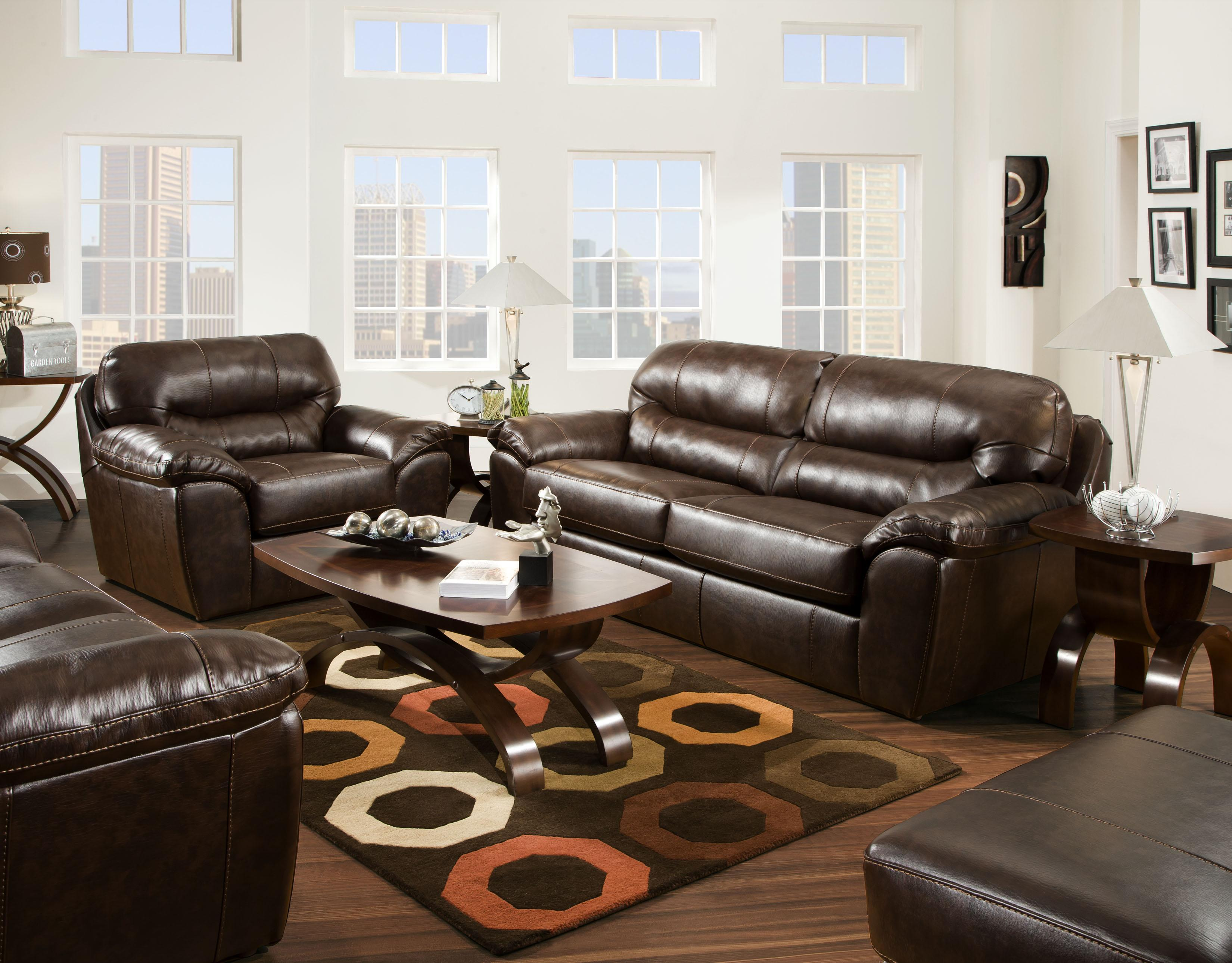 Casual and fortable Faux Leather Sofa by Jackson Furniture