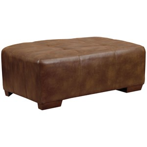 Ottoman with Exposed Wood Feet