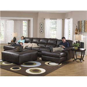 Two Chaise Sectional Sofa with Five Seats