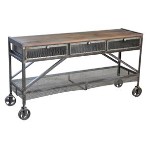 Jaipur Furniture Guru Industrial Wheeled Sofa Table
