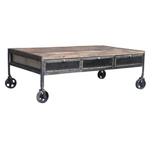 Jaipur Furniture Guru Industrial Wheeled Coffee Table
